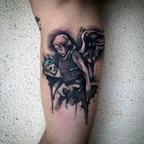 Watercolor Angel With Bulletproof Vest Mens Inner Arm Tattoos