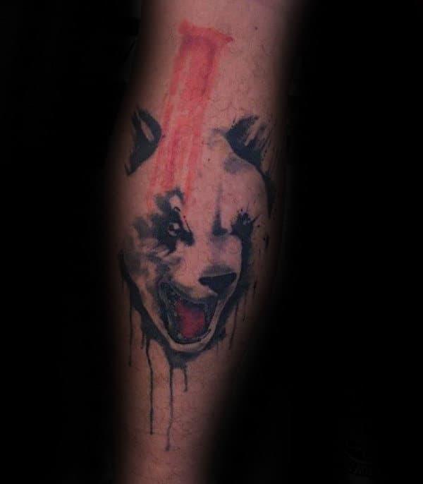 Watercolor Angry Panda Bear Mens Forearm Tattoos