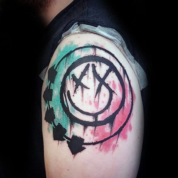 Watercolor Arm Blink 182 Mens Tattoo Designs