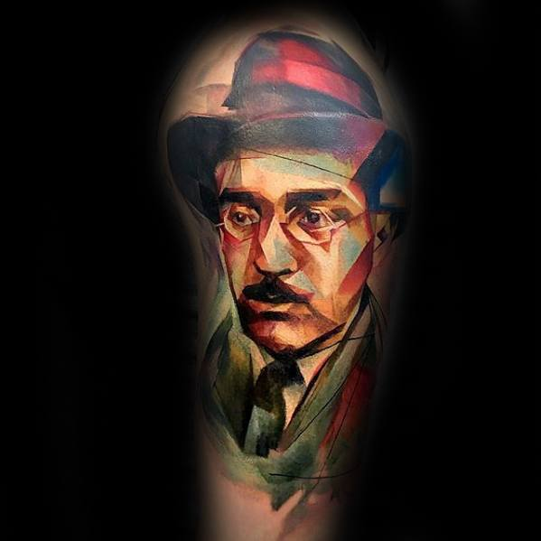 Watercolor Arm Male Portrait Tattoo Ideas