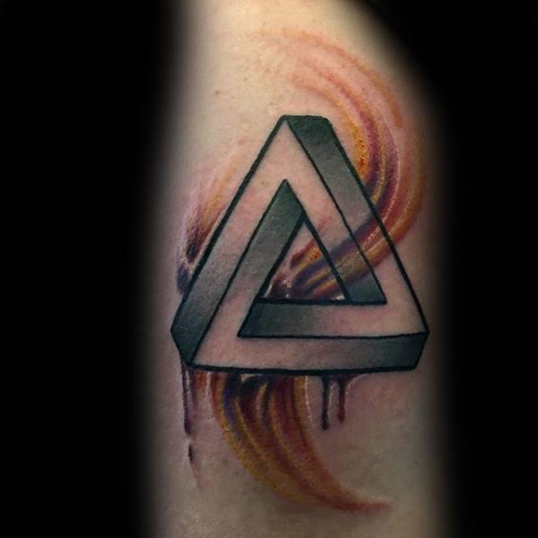 Watercolor Arm Penrose Triangle Guys Tattoo Ideas