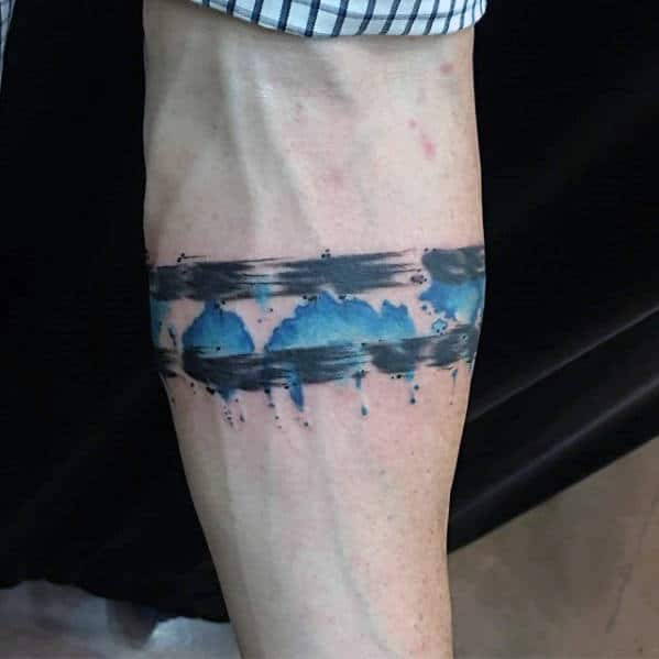 Watercolor Armband Thin Blue Line Guys Tattoos