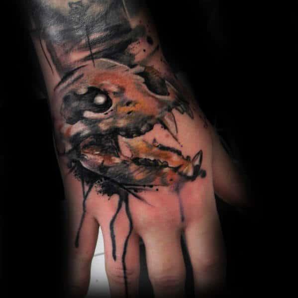 Watercolor Artistic Bear Skull Male Hand Tattoos