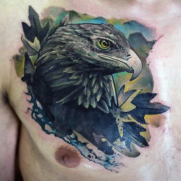 Watercolor Background 3d Mens Eagle Upper Chest Tattoos