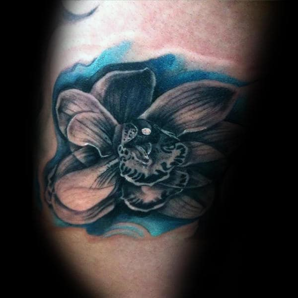 Watercolor Background Blue Ink Guys Orchid Arm Tattoos