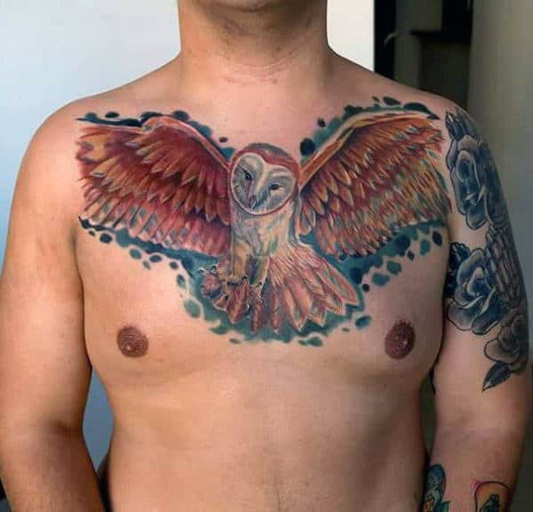 Watercolor Background Guys Barn Owl Chest Tattoos