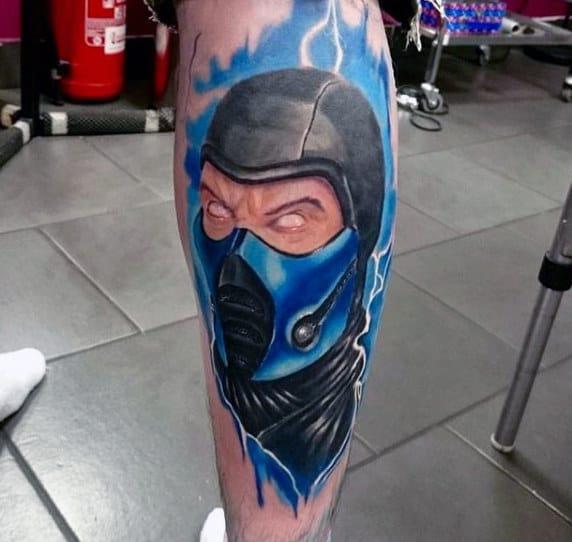Watercolor Background Lightning Male Mortal Kombat Sub Zero Leg Tattoos