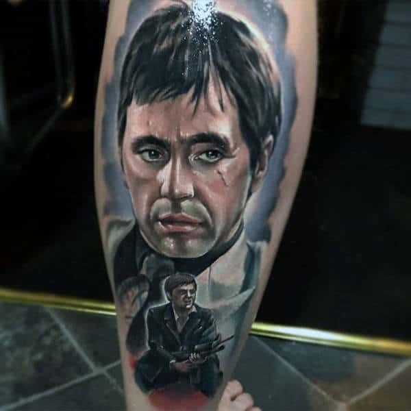 Watercolor Background Mens Scarface Themed Leg Tattoo