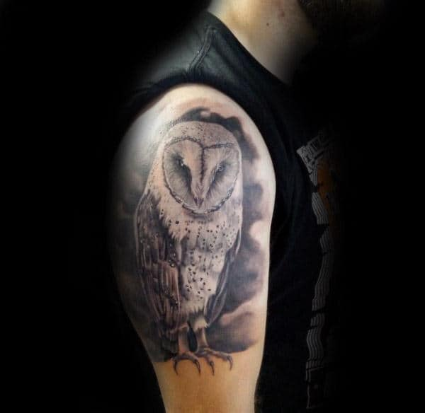 Watercolor Background With Barn Owl Mens Arm Tattoo Designs