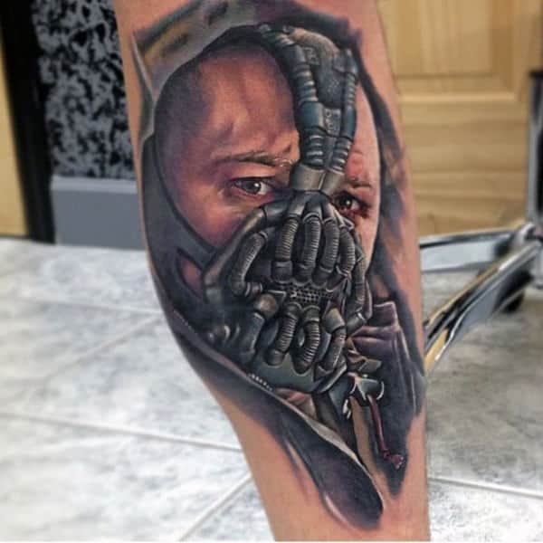 Watercolor Bane Dc Comics Leg Tattoo Ideas For Men