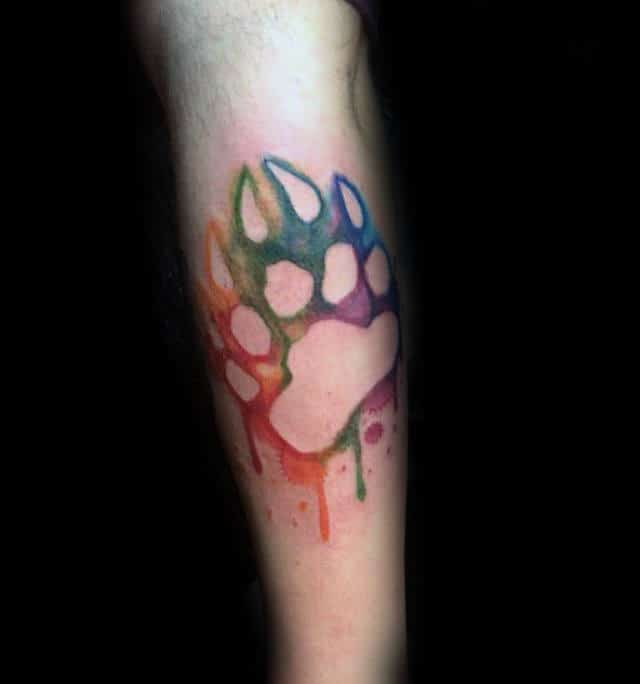 Watercolor Bear Claw Negative Space Male Forearm Tattoo Design Ideas