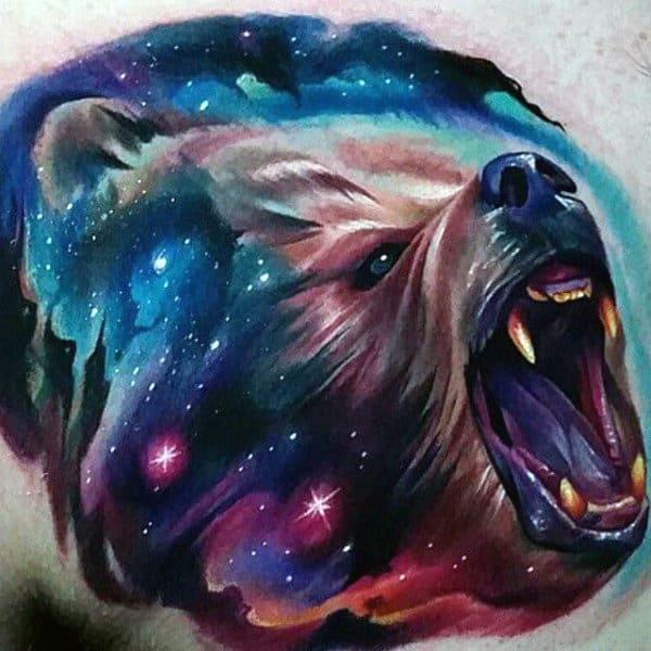 Watercolor Bear Universe Mens Modern Chest Tattoo