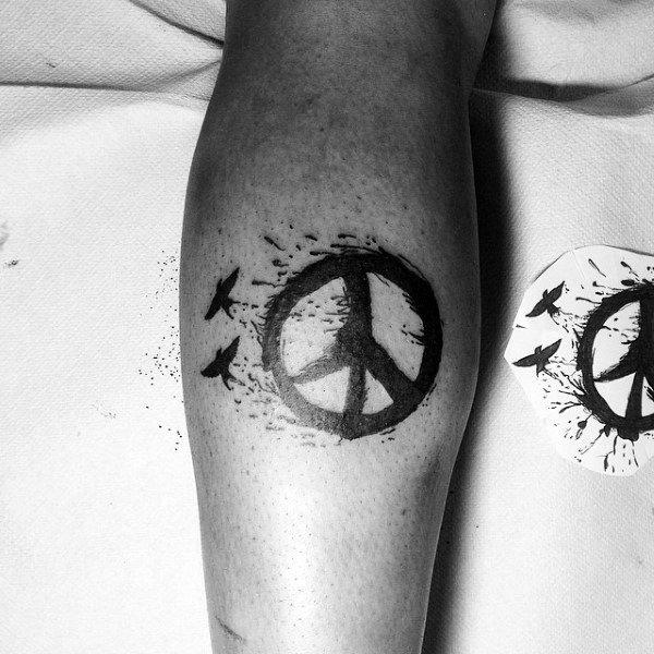 Watercolor Birds Flying Peace Sign Leg Calf Tattoos For Men