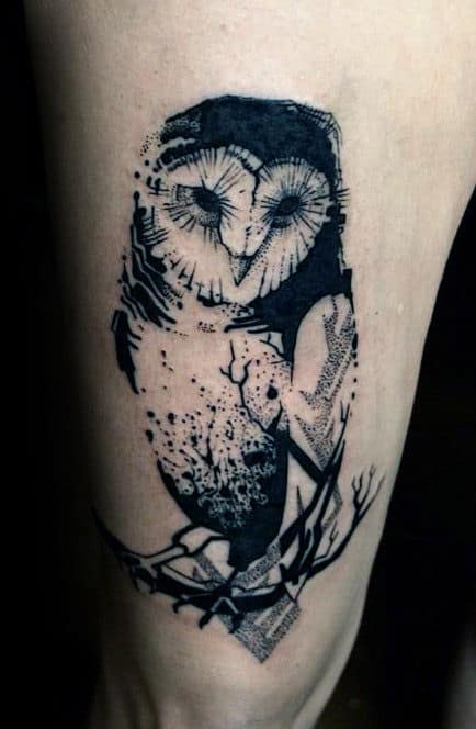 Watercolor Black Ink Barn Owl Thigh Tattoo On Man