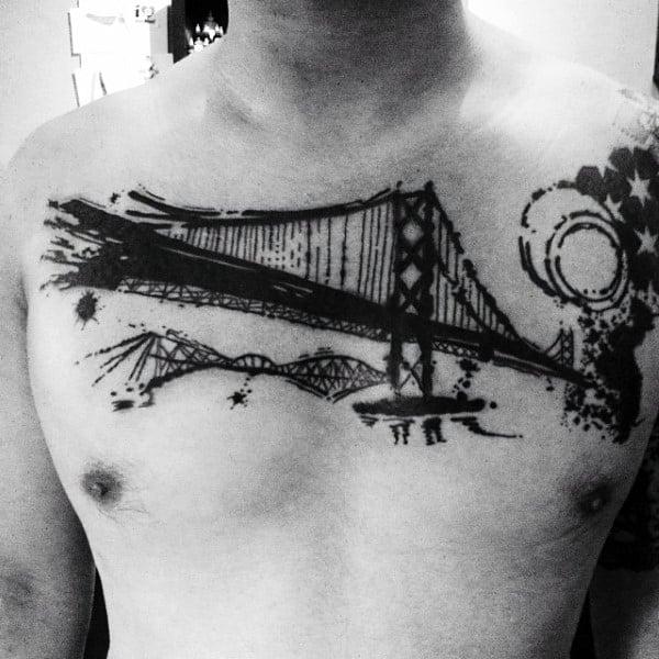 Watercolor Black Ink Bridge Male Chest Tattoo