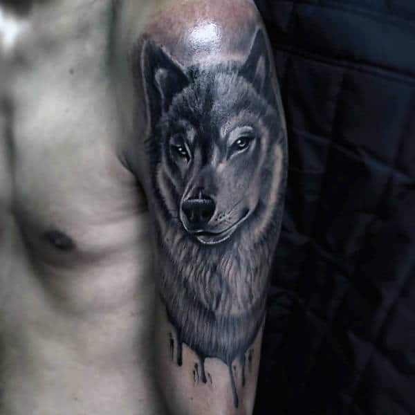 Watercolor Black Ink Wolf Arm Animal Tattoos For Guys