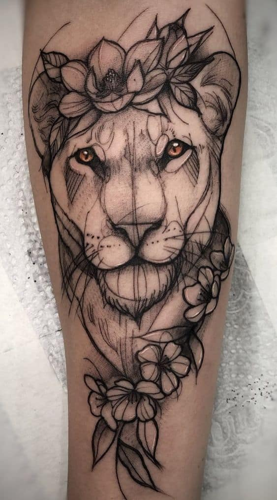 Watercolor Black Lion Tattoo