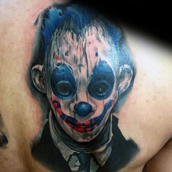 Watercolor Blue And White Ink Mens Clown Shoulder Blade Tattoos