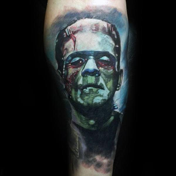 Watercolor Blue Ink Background Male Frankenstein Leg Tattoos