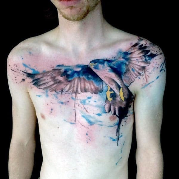 Watercolor Blue Ink Guys Falcon Chest Tattoos
