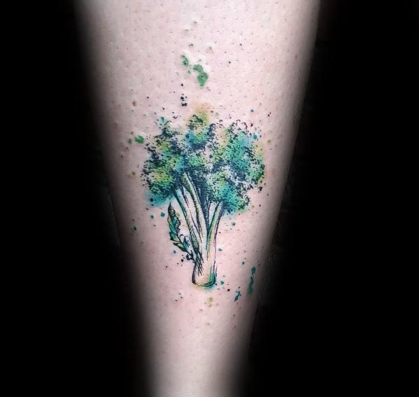 Watercolor Broccoli Tattoo Ideas For Men