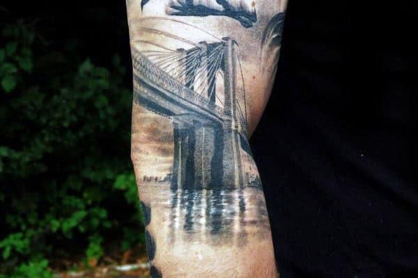 Watercolor Brooklyn Bridge Male Arm Tattoo