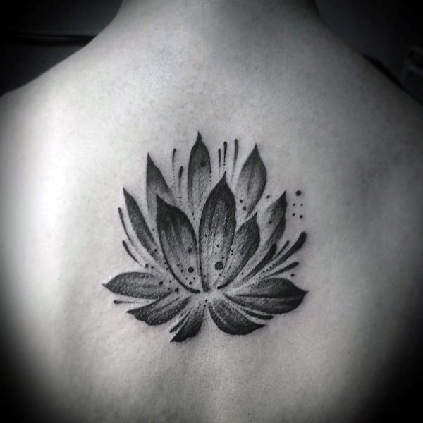 Watercolor Brush Stroke Male Lotus Flower Back Tattoo