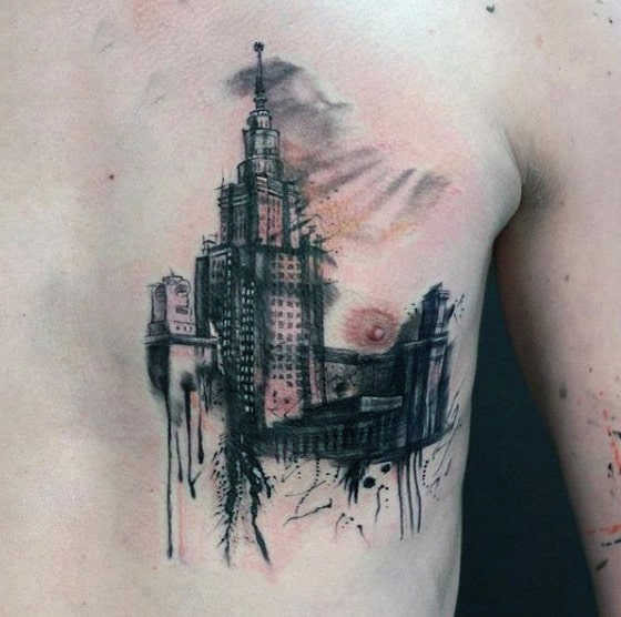 Watercolor Building Mens Chest Tattoos