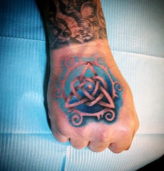 Watercolor Celtic Knot Trinity Mens Hand Tattoos