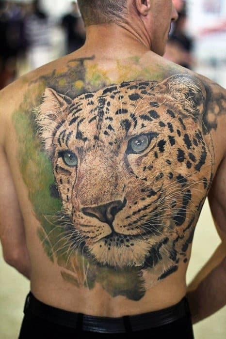Watercolor Cheetah Mens Full Back Tattoo Inspiration