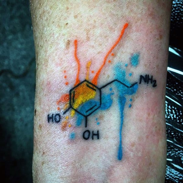 Watercolor Chemistry Compound Guys Tattoo Design Ideas