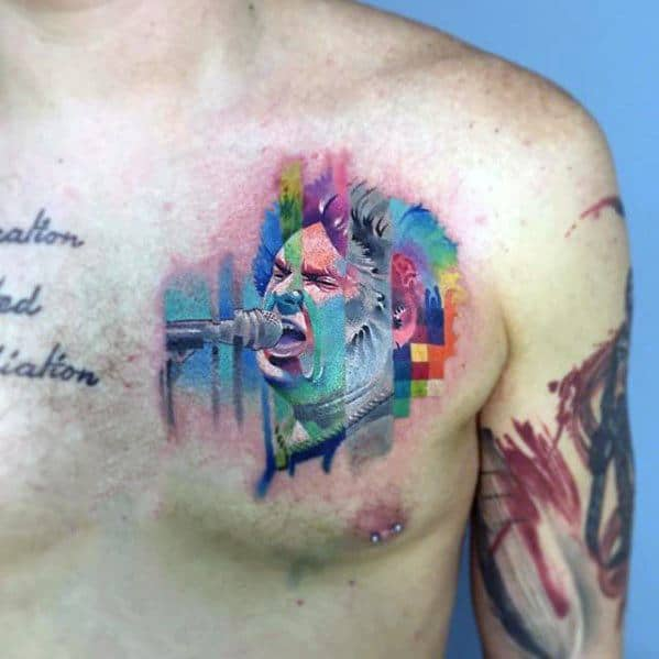 Watercolor Chest Glitch Tattoo Ideas On Guys