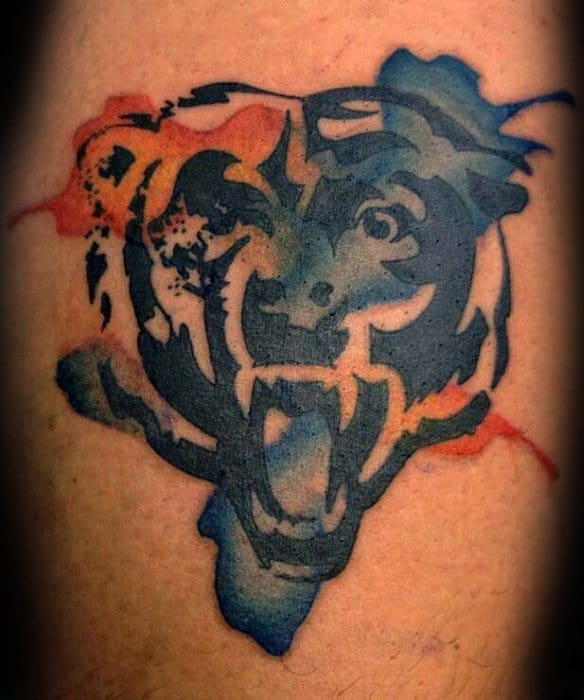 Watercolor Chicago Bears Tattoo Design Ideas For Males