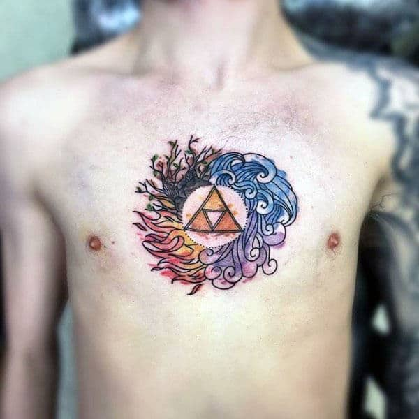 Watercolor Circular Triforce Mens Chest Tattoo