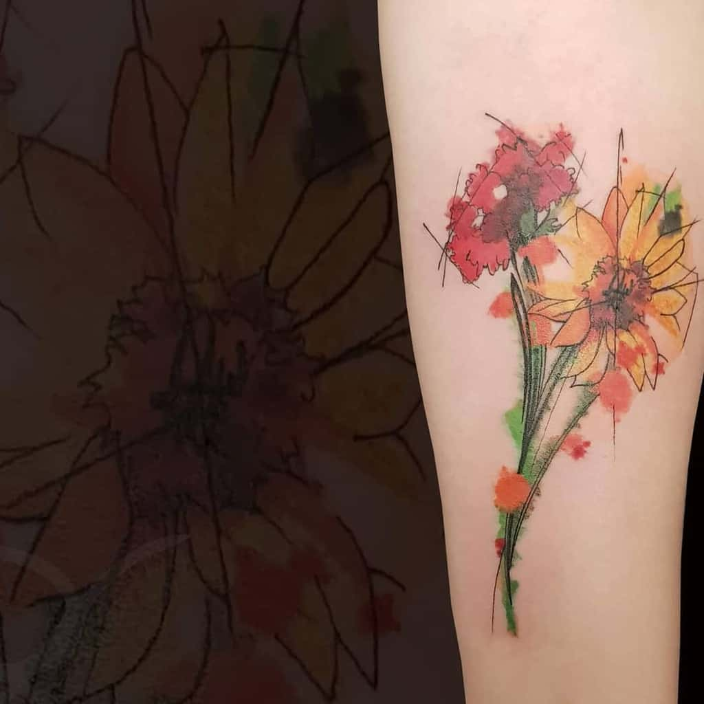 watercolor-clavel-carnation-tattoo-oxytocinatattoo
