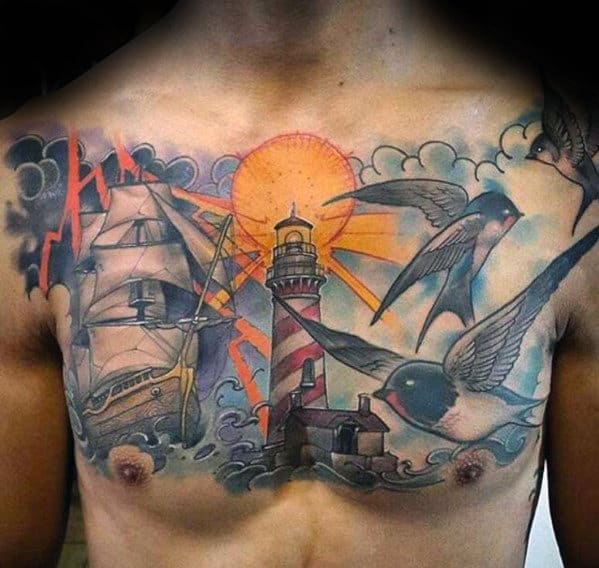 Watercolor Clouds With Birds Ship And Lighthouse Mens Old School Chest Tattoo