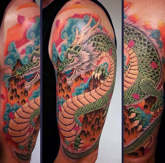 Watercolor Colofrul Male Chinese Dragon Half Sleeve Tattoos