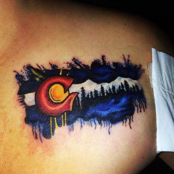 Watercolor Colorado Flag Tattoo On Gentlemans Upper Chest