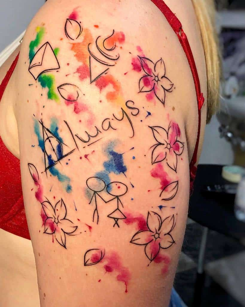 watercolor colored always tattoos mariateresa_stella