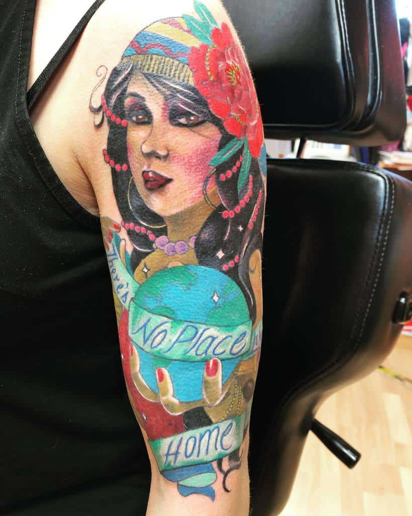 watercolor colored gypsy rose tattoos jaison_spencer