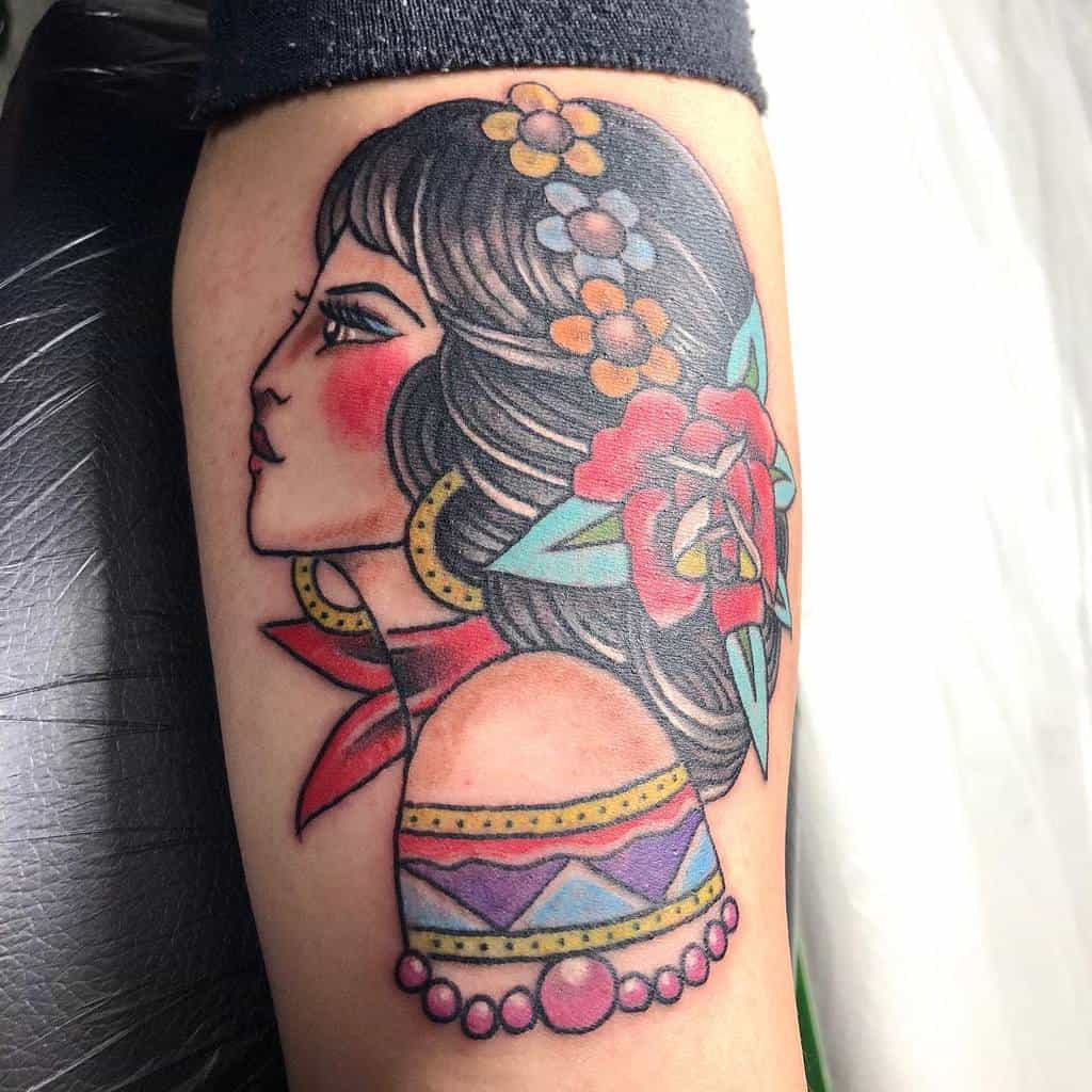 watercolor colored gypsy rose tattoos nabe.754nds