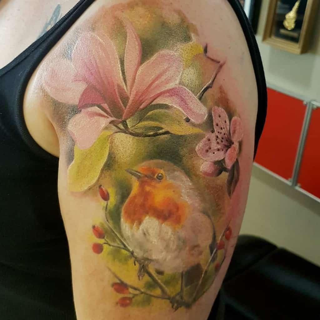 watercolor colored magnolia tattoos anitariley76
