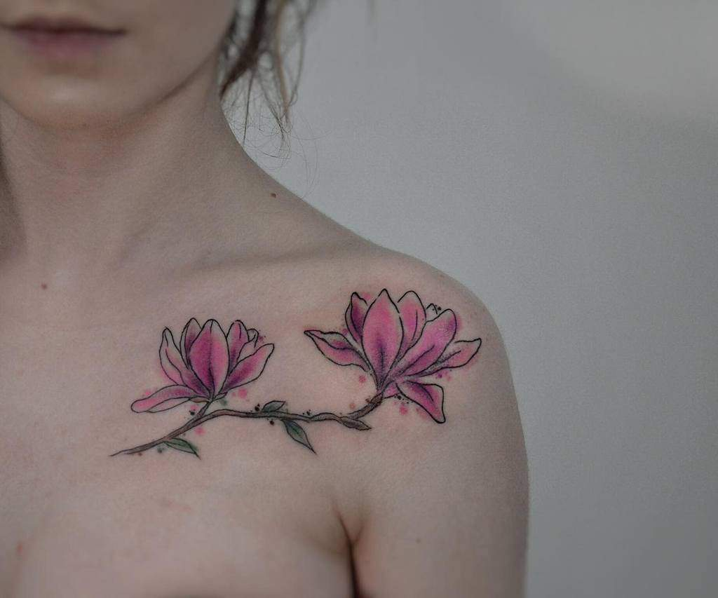 watercolor colored magnolia tattoos helkol_tattoo