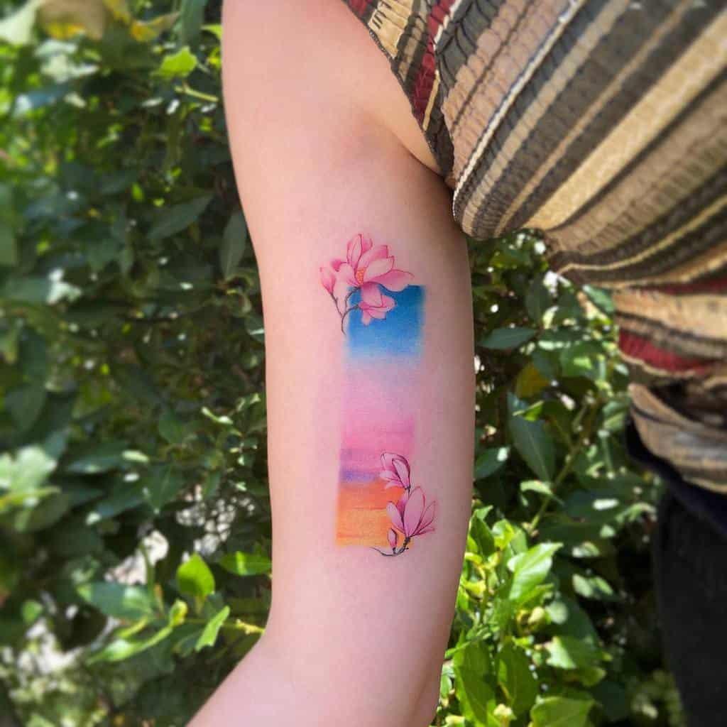watercolor colored magnolia tattoos newtattoo_qiqi