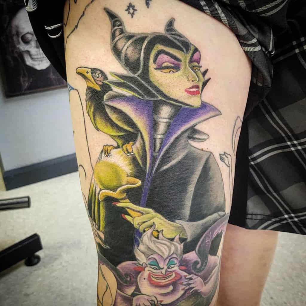 Watercolor Colored Maleficent Tattoos Cyarika06