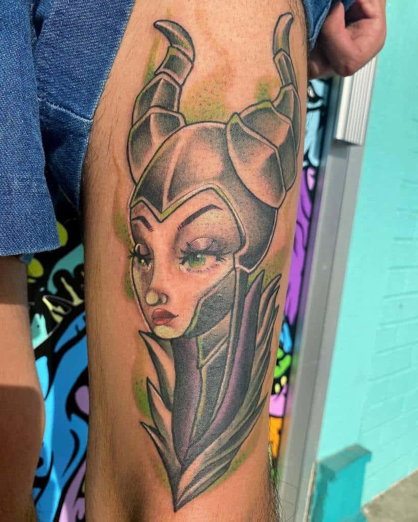 Watercolor Colored Maleficent Tattoos Ilianasoleart