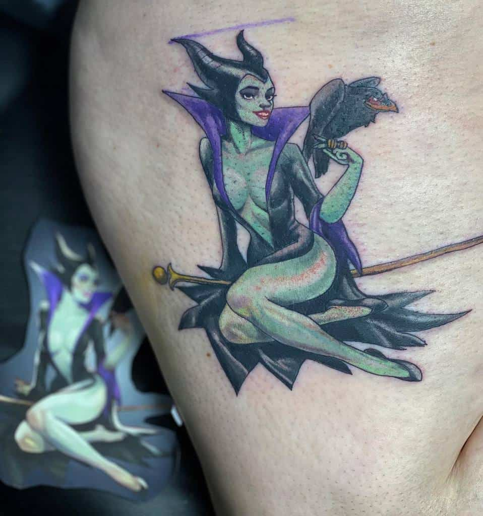 Watercolor Colored Maleficent Tattoos Lucid.illusions