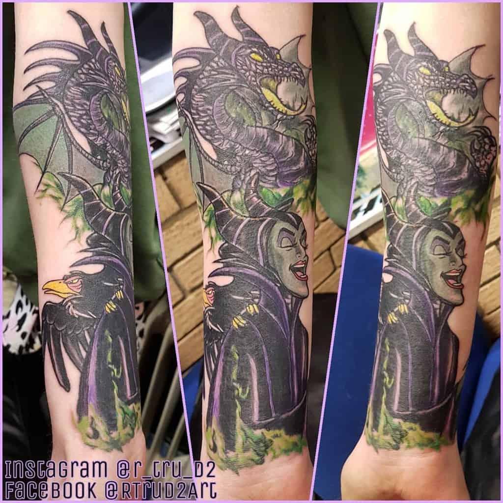 Watercolor Colored Maleficent Tattoos R Tru D2