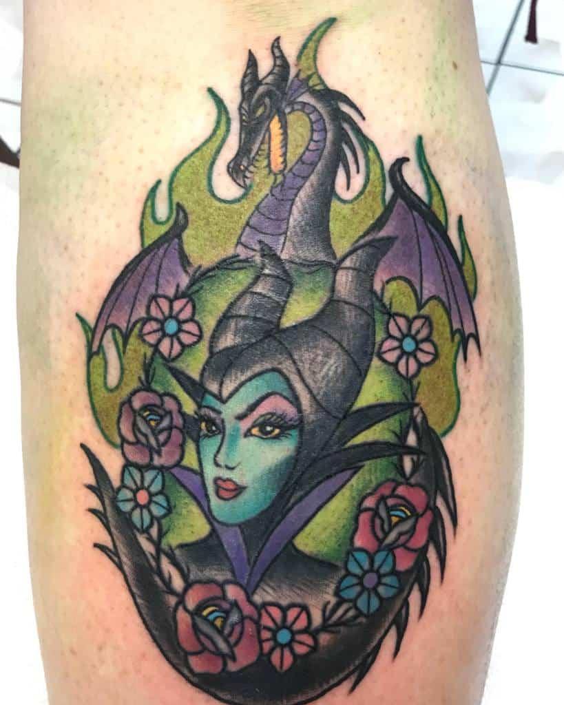 Watercolor Colored Maleficent Tattoos Sanae Kawaii