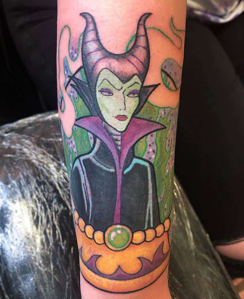 Watercolor Colored Maleficent Tattoos Thelexfiles Tattoos